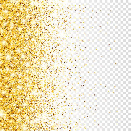 Sparkling Golden Glitter on Transparent Vector Background. Falling Shiny Confetti with Gold Shards. Shining Light Effect for Christmas or New Year Greeting Card Stock Vector - 129395516