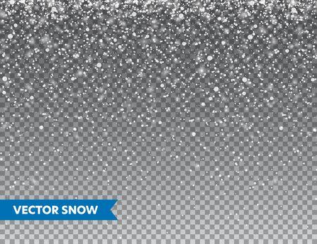 Chute de neige réaliste avec des flocons de neige. Fond transparent d'hiver pour carte de Noël ou du nouvel an. Effet de tempête de givre, chutes de neige, glace. Illustration vectorielle