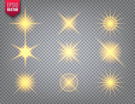 Glowing golden light set on transparent Illusztráció