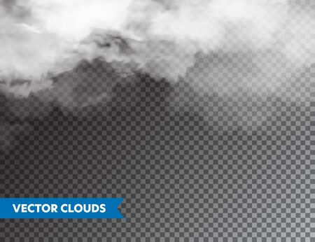 Realistic Clouds. Isolated Cloud on Transparent Background. Sky Panorama. Vector Design Element 일러스트