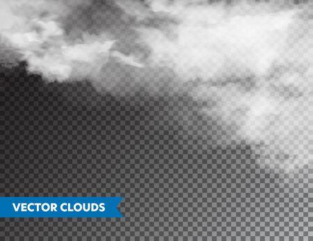 Realistyczne chmury. Na białym tle chmura na przezroczystym tle. Panorama nieba. Element projektu wektor Ilustracje wektorowe