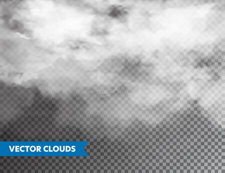 Realistic Clouds. Isolated Cloud on Transparent Background. Sky Panorama. Vector Design Element Çizim