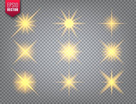 Glowing golden light set on transparent background. Lens flare effect. Bright sparkling flash, sunlight. Vector illustration
