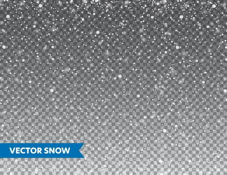 Realistic falling snow with snowflakes. Winter transparent background for Christmas or New Year card. Frost storm effect, snowfall, ice. Vector illustration