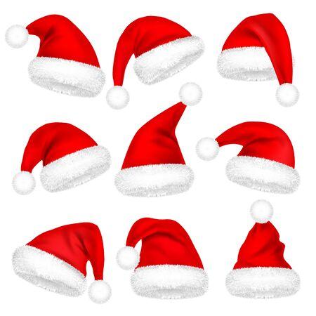 Cappelli Di Babbo Natale Di Natale Con Set Di Pelliccia. Anno Nuovo Red Hat isolato su sfondo bianco. Cappello invernale. Illustrazione vettoriale