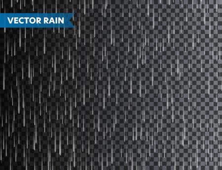 Realistic rain texture on transparent background. Rainfall, water drops effect. Autumn wet rainy day. Vector illustration