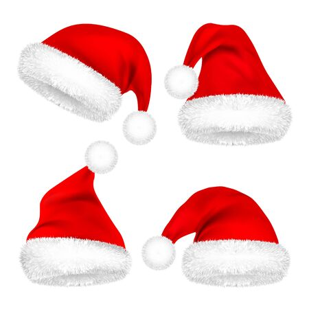 Christmas Santa Claus Hats With Fur Set. New Year Red Hat Isolated on White Background. Winter Cap. Vector illustration Ilustração