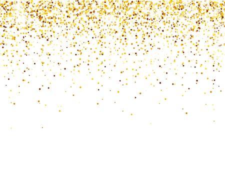 Paillettes dorées scintillantes sur fond de vecteur blanc. Chute de confettis brillants avec des éclats d'or. Effet de lumière brillante pour la carte de voeux de Noël ou du nouvel an Vecteurs