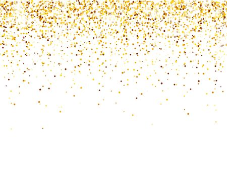 Sparkling Golden Glitter on White Vector Background. Falling Shiny Confetti with Gold Shards. Shining Light Effect for Christmas or New Year Greeting Card 矢量图像