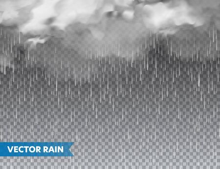 Realistic rain with clouds on transparent background. Rainfall, water drops effect. Autumn wet rainy day. Vector illustration Illustration