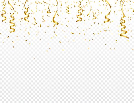 Christmas golden confetti with ribbon. Falling shiny glitter in gold color. New year, birthday, valentines day design element. Holiday background