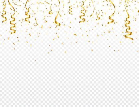 Weihnachtsgoldenes Konfetti mit Band. Fallender glänzender Glitzer in Goldfarbe. Neues Jahr, Geburtstag, Valentinstag Gestaltungselement. Feiertagshintergrund