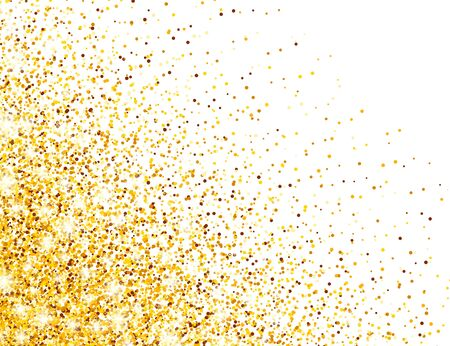 Sparkling Golden Glitter on White Vector Background. Falling Shiny Confetti with Gold Shards. Shining Light Effect for Christmas or New Year Greeting Card Illustration