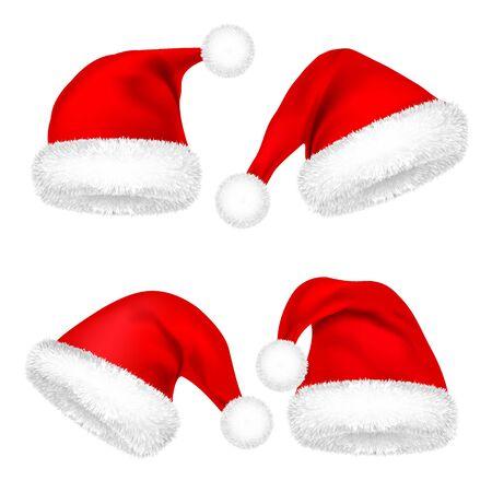 Christmas Santa Claus Hats With Fur Set.