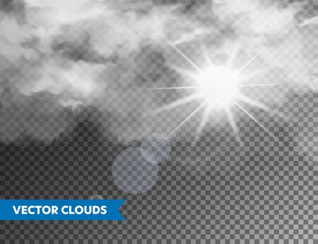Realistic Clouds with Sun Flare. Isolated Cloud on Transparent Background. Sky Panorama. Vector Design Element
