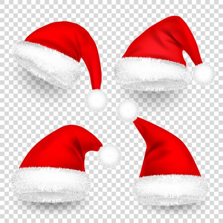 Christmas Santa Claus Hats With Fur and Shadow Set.