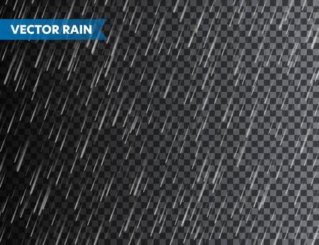 Texture pioggia realistica su sfondo trasparente. Pioggia, effetto gocce d'acqua. Giornata di pioggia bagnata autunnale. Illustrazione vettoriale