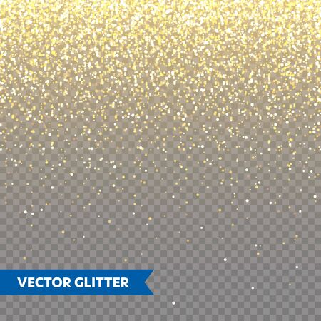 Sparkling Golden Glitter on Transparent Vector Background. Falling Shiny Confetti with Gold Shards. Shining Light Effect for Christmas or New Year Greeting Card Vetores