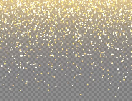 Sparkling Golden Glitter with Bokeh Lights on Transparent Vector Background. Falling Shiny Confetti with Gold Shards. Shining Light Effect for Christmas or New Year Greeting Card