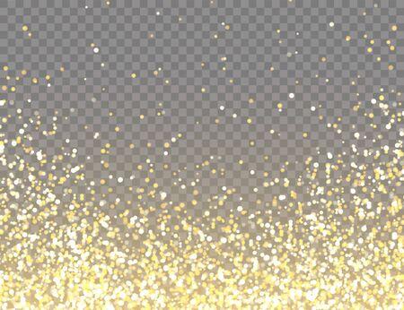 Scintillio dorato scintillante con luci Bokeh su sfondo trasparente vettoriale. Coriandoli lucenti che cadono con frammenti d'oro. Effetto luce brillante per biglietti di auguri di Natale o Capodanno
