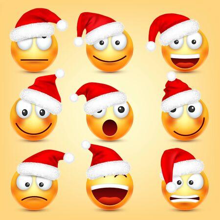 Conjunto de vector de emoticonos. Cara amarilla con emociones y sombrero de Navidad. Año Nuevo, Santa. Emoji de invierno. Caras tristes, felices y enojadas. Humor de personaje de dibujos animados divertido Ilustración de vector