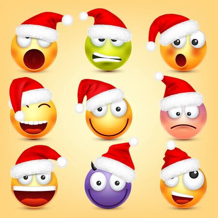 Emoticon vector set. Yellow face with emotions and Christmas hat. New Year, Santa. Winter emoji. Sad, happy, angry faces. Funny cartoon character mood