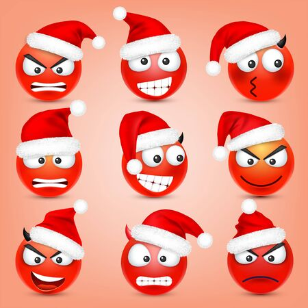 Emoticon vector set. Red face with emotions and Christmas hat. New Year, Santa. Winter emoji. Sad, happy, angry faces. Funny cartoon character mood