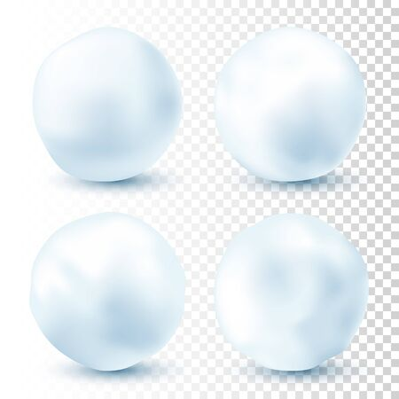 Snowball isolated on transparent background. Snowballs collection. Frozen ice ball. Winter decoration for Christmas or New Year. Vector snow