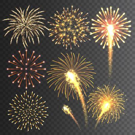 Collezione di fuochi d'artificio festivi. Fuochi d'artificio colorati realistici su sfondo trasparente. Esplosione multicolore. Elemento di biglietto di auguri di Natale o Capodanno. Illustrazione vettoriale Vettoriali
