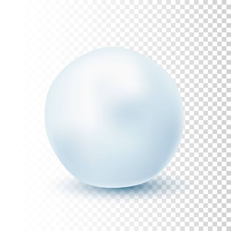 Snowball isolated on transparent background. Frozen ice ball. Winter decoration for Christmas or New Year. Vector snow Ilustracja