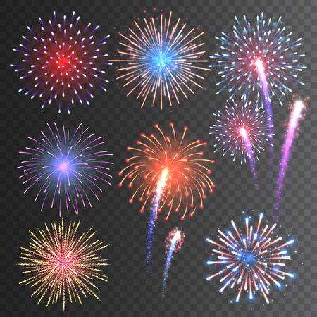 Collezione di fuochi d'artificio festivi. Fuochi d'artificio colorati realistici su sfondo trasparente. Esplosione multicolore. Elemento di biglietto di auguri di Natale o Capodanno. Illustrazione vettoriale