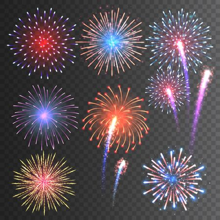 Festive fireworks collection. Realistic colorful firework on transparent background. Multicolored explosion. Christmas or New Year greeting card element. Vector illustration
