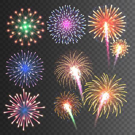 Festive fireworks collection. Illustration