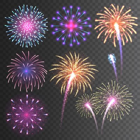Festive fireworks collection. Realistic colorful firework on transparent background. Multicolored explosion. Christmas or New Year greeting card element. Vector illustration Vektoros illusztráció