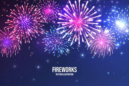 Fuochi d'artificio festivi. Fuochi d'artificio colorati realistici su sfondo astratto blu. Esplosione multicolore. Biglietto di auguri di Natale o Capodanno. Diwali festival delle luci. Illustrazione vettoriale