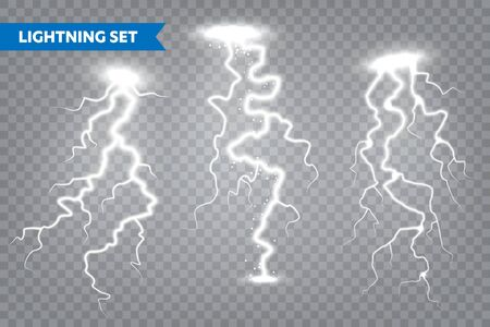 Realistic lightning collection on transparent background. Thunderstorm and lightning bolt. Sparks of light. Stormy weather effect. Vector illustration