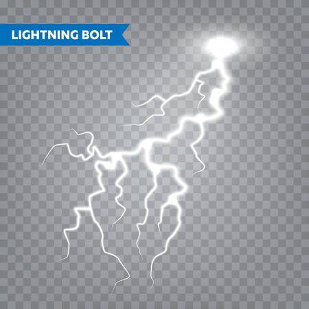 Realistischer Blitz auf transparentem Hintergrund. Gewitter und Blitz. Lichtfunken. Stürmischer Wettereffekt. Vektor-Illustration Vektorgrafik