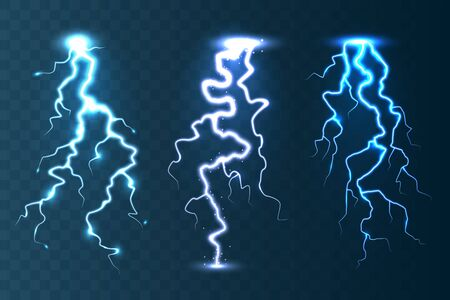 Realistic lightning collection on blue transparent