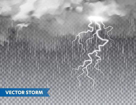 Realistic rain with clouds and lightning on transparent background. Thunderstorm, stormy weather effect. Rainfall, water drops effect. Autumn wet rainy day. Vector illustration Иллюстрация