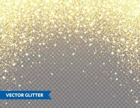 Sparkling Golden Glitter on Transparent Vector Background. Falling Shiny Confetti with Gold Shards. Shining Light Effect for Christmas or New Year Greeting Card Zdjęcie Seryjne - 133383889