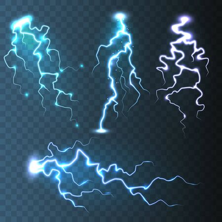 파란색 투명 배경에 현실적인 번개 컬렉션입니다. 뇌우와 번개. 빛의 불꽃. 폭풍우 치는 날씨 효과. 벡터 일러스트 레이 션