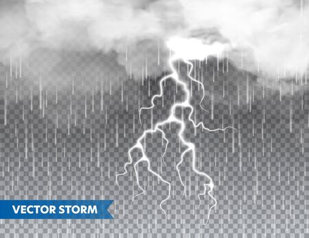 Realistic rain with clouds and lightning on transparent background. Thunderstorm, stormy weather effect. Rainfall, water drops effect. Autumn wet rainy day. Vector illustration
