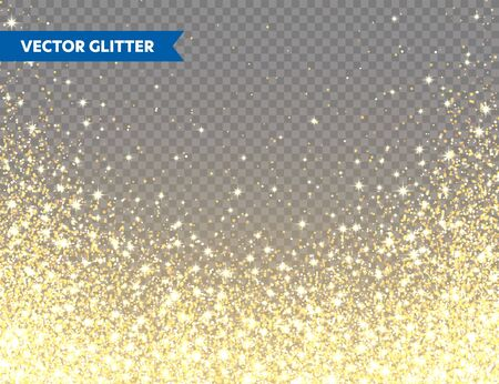Sparkling Golden Glitter on Transparent Vector Background. Falling Shiny Confetti with Gold Shards. Shining Light Effect for Greeting Card