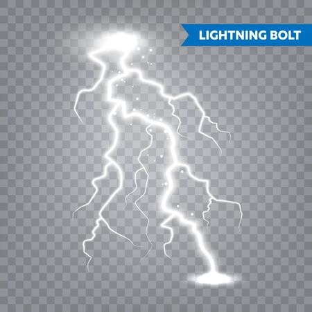 Realistic lightning on transparent background. Thunderstorm and lightning bolt. Sparks of light. Stormy weather effect. Vector illustration