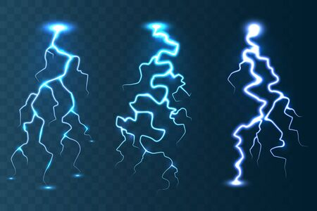 Realistic lightning collection on blue transparent background. Thunderstorm and lightning bolt. Sparks of light. Stormy weather effect. Vector illustration