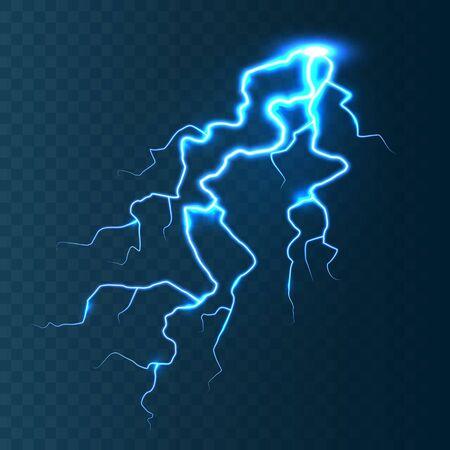 Realistic lightning on blue transparent background. Thunderstorm and lightning bolt. Sparks of light. Stormy weather effect. Vector illustration