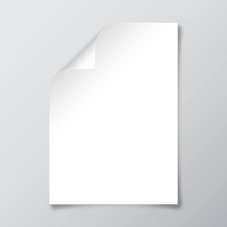 Realistic blank paper sheet with shadow in A4 format. Notebook or book page with curled corner. Vector illustration.
