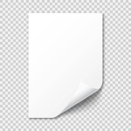 Realistisches leeres Papierblatt mit Schatten im A4-Format auf transparentem Hintergrund. Notizbuch- oder Buchseite mit gekräuselter Ecke. Vektor-Illustration