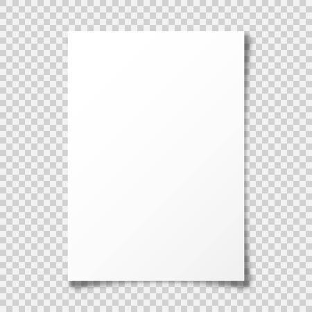 Foglio di carta bianco realistico con ombra in formato A4 su sfondo trasparente. Taccuino o pagina del libro con angolo arricciato. Illustrazione vettoriale.