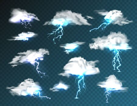 Realistic clouds with lightning set on transparent background. Thunderstorm and lightning bolt. Sparks of light. Stormy weather effect. Vector illustration
